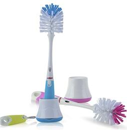Nuby 2 in 1 Bottle and Nipple Brush with Stand 1pk - Colors