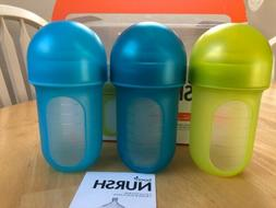 Boon Nursh Silicone Pouch Baby Bottle 8 Ounce Pack of 3 Blue