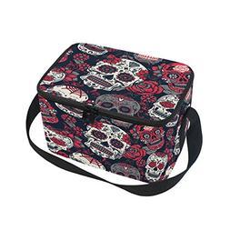 ALAZA Rose Skull Floral Insulated Lunch Bag Box Cooler Bag R
