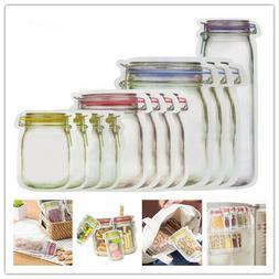 Seal Food Storage Bag Snacks Zipper Pouch Reusable Mason Jar