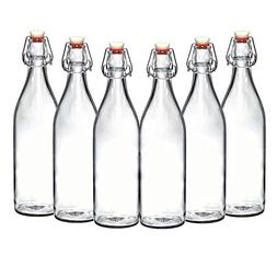 Set of 6 - 33.75 Oz Giara Glass Bottle with Stopper, Swing T