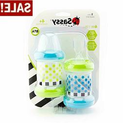 Set of 2 Sassy Baby Food Nurser Cereal Feeder 4oz Bottles Ni