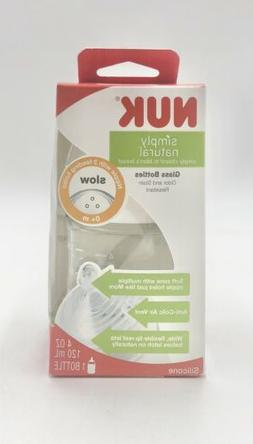NUK Simply Natural Glass Baby Bottle, Slow Flow, 0 Months+,