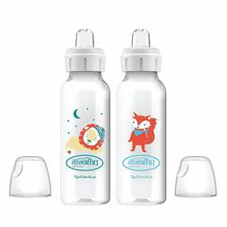 Dr. Brown's Sippy Spout Baby Bottles, Fox & Lion, 8 Ounce, 2