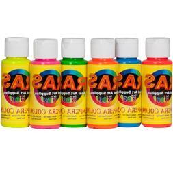 RAS Tempera Paint for Kids Set of 6 2 oz. Bottles - Fluoresc