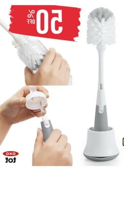 OXO Tot Bottle Brush with Nipple Cleaner and Stand, Gray B