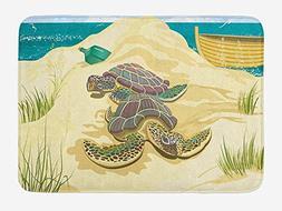 Turtle Bath Mat, Illustration of Two Sea Turtles on Sandy Su