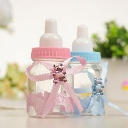 12 Pink/Blue Fillable Bottles for Baby Shower Favors Prizes