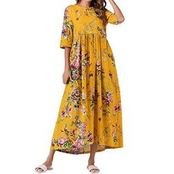 ANJUNIE Women Half Sleeve Floral Maxi Dress Ruched Thin Cott