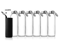 Zuzoro - 6-Pack -18oz Juice & Beverage Glass Water Bottles -